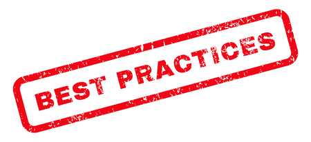 practices: Best Practices Text rubber seal stamp watermark. Tag inside rectangular shape with grunge design and scratched texture. Slanted glyph red ink sticker on a white background.