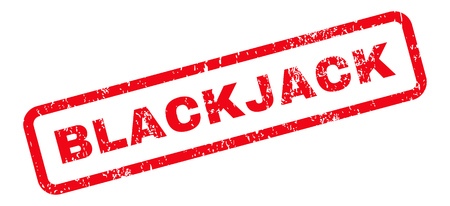 blackjack: Blackjack Text rubber seal stamp watermark. Caption inside rectangular shape with grunge design and dust texture. Slanted glyph red ink sign on a white background. Stock Photo