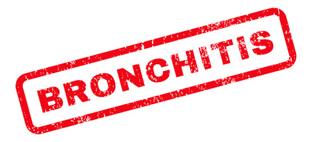 bronchitis: Bronchitis Text rubber seal stamp watermark. Tag inside rectangular banner with grunge design and dirty texture. Slanted glyph red ink sticker on a white background.