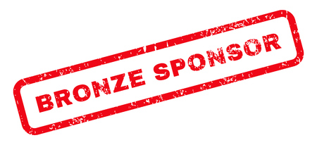 sponsor: Bronze Sponsor Text rubber seal stamp watermark. Caption inside rectangular shape with grunge design and scratched texture. Slanted glyph red ink sign on a white background. Stock Photo