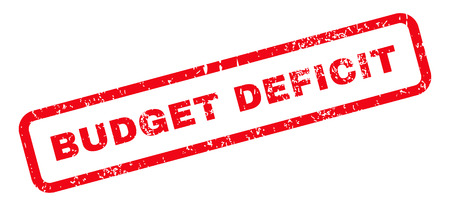 deficit: Budget Deficit Text rubber seal stamp watermark. Caption inside rectangular shape with grunge design and unclean texture. Slanted glyph red ink sign on a white background. Stock Photo
