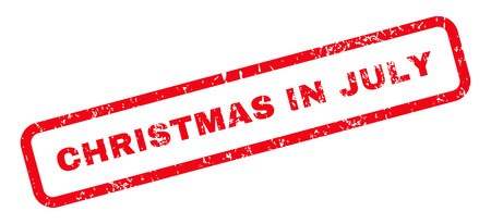 christmas in july: Christmas In July Text rubber seal stamp watermark. Caption inside rectangular shape with grunge design and dirty texture. Slanted glyph red ink emblem on a white background.