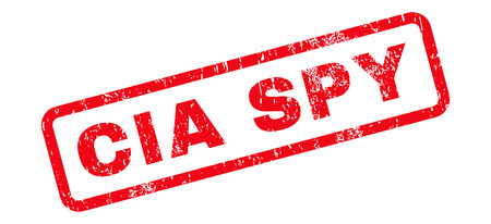 CIA Spy Text rubber seal stamp watermark. Caption inside rectangular banner with grunge design and scratched texture. Slanted glyph red ink sticker on a white background.