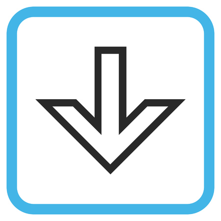 vertical orientation: Arrow Down blue and gray glyph icon. Image style is a flat icon symbol inside a rounded square frame on a white background. Stock Photo