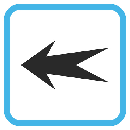 frame less: Arrow Left blue and gray glyph icon. Image style is a flat pictogram symbol inside a rounded square frame on a white background.