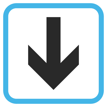 vertical orientation: Arrow Down blue and gray glyph icon. Image style is a flat pictogram symbol inside a rounded square frame on a white background.