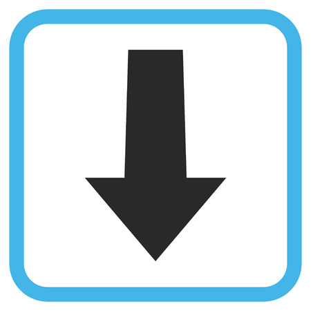 vertical orientation: Arrow Down blue and gray glyph icon. Image style is a flat pictograph symbol inside a rounded square frame on a white background.