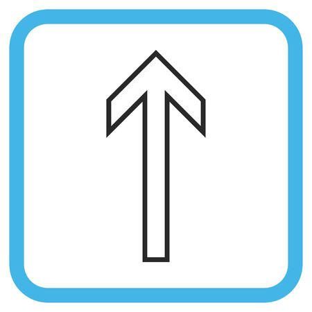 penetrating: Arrow Up blue and gray glyph icon. Image style is a flat pictograph symbol in a rounded square frame on a white background. Stock Photo