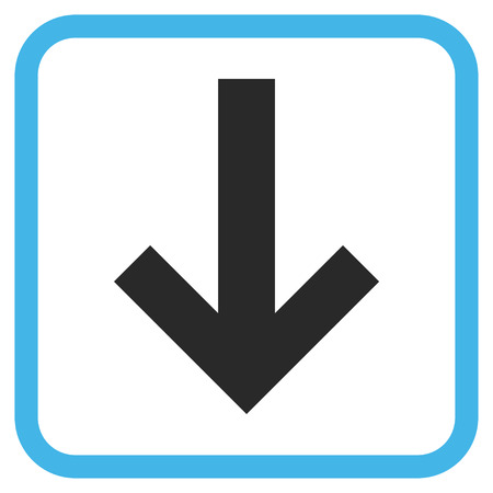 vertical orientation: Arrow Down blue and gray glyph icon. Image style is a flat iconic symbol inside a rounded square frame on a white background.