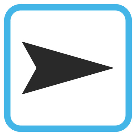 arrowhead: Arrowhead Right blue and gray glyph icon. Image style is a flat pictogram symbol in a rounded square frame on a white background.