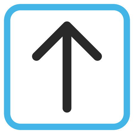 penetrating: Arrow Up blue and gray glyph icon. Image style is a flat pictogram symbol inside a rounded square frame on a white background. Stock Photo