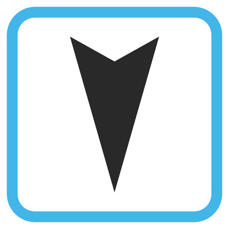 vertical orientation: Arrowhead Down blue and gray glyph icon. Image style is a flat pictograph symbol in a rounded square frame on a white background.