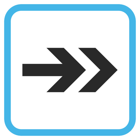 proceed: Arrow Right blue and gray glyph icon. Image style is a flat pictograph symbol inside a rounded square frame on a white background.