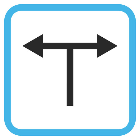 divide: Bifurcation Arrows Left Right blue and gray glyph icon. Image style is a flat icon symbol inside a rounded square frame on a white background.