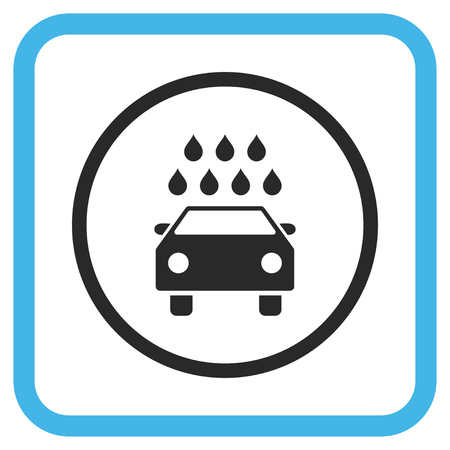 sterilize: Car Shower blue and gray glyph icon. Image style is a flat pictogram symbol inside a rounded square frame on a white background.