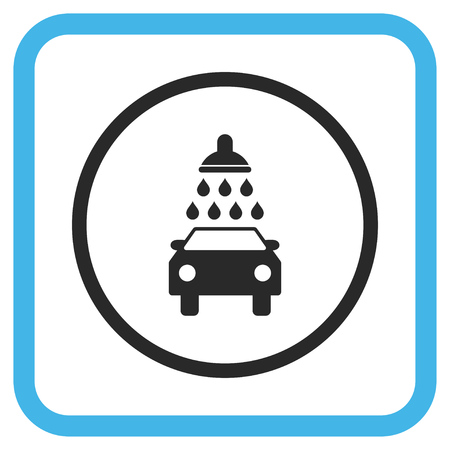 sterilize: Car Wash blue and gray glyph icon. Image style is a flat pictograph symbol in a rounded square frame on a white background. Stock Photo