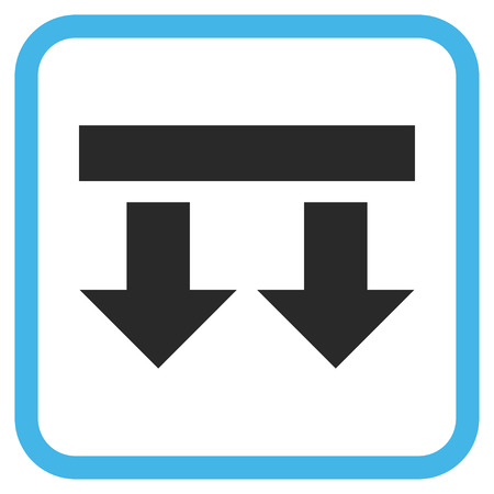 vertical orientation: Bring Down blue and gray glyph icon. Image style is a flat iconic symbol inside a rounded square frame on a white background.