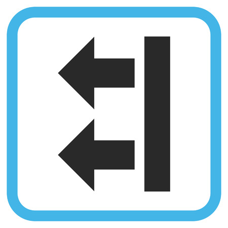 bring: Bring Left blue and gray glyph icon. Image style is a flat icon symbol in a rounded square frame on a white background.