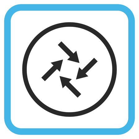 revolve: Centripetal Arrows blue and gray glyph icon. Image style is a flat pictograph symbol inside a rounded square frame on a white background.