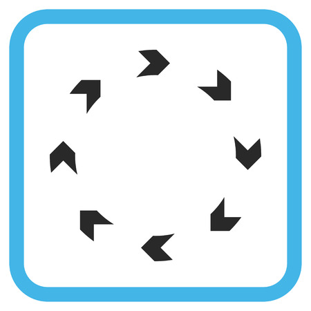 revolve: Circulation blue and gray glyph icon. Image style is a flat pictograph symbol inside a rounded square frame on a white background. Stock Photo