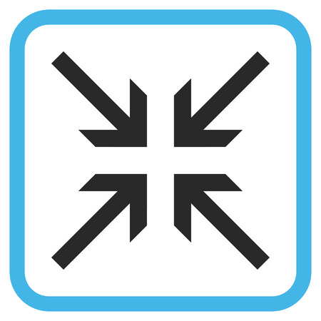 collide: Collide Arrows blue and gray glyph icon. Image style is a flat pictograph symbol inside a rounded square frame on a white background. Stock Photo