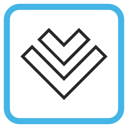 redirect: Direction Down blue and gray glyph icon. Image style is a flat pictogram symbol in a rounded square frame on a white background. Stock Photo