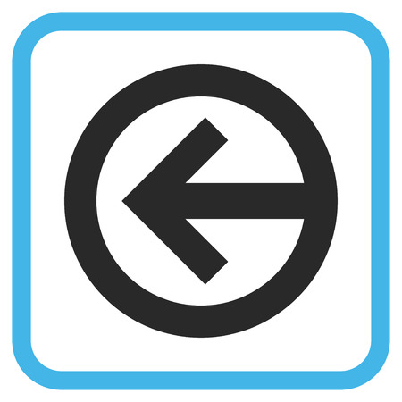 redirect: Direction Left blue and gray glyph icon. Image style is a flat pictograph symbol inside a rounded square frame on a white background.
