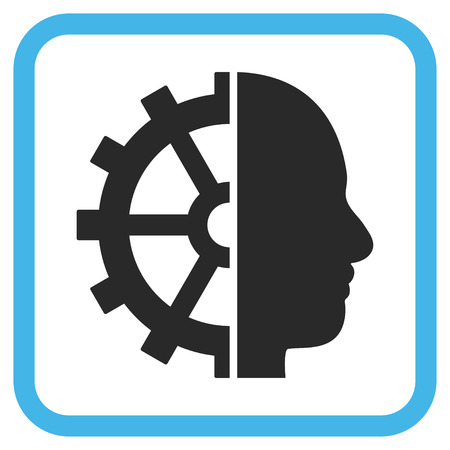 robo: Cyborg Gear blue and gray glyph icon. Image style is a flat pictogram symbol inside a rounded square frame on a white background.