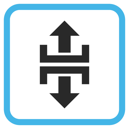 Divide Vertical Direction blue and gray glyph icon. Image style is a flat pictogram symbol inside a rounded square frame on a white background. Stock Photo