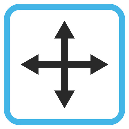 Expand Arrows blue and gray glyph icon. Image style is a flat pictogram symbol in a rounded square frame on a white background. Stock Photo