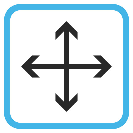 Expand Arrows blue and gray glyph icon. Image style is a flat pictograph symbol inside a rounded square frame on a white background. Stock Photo