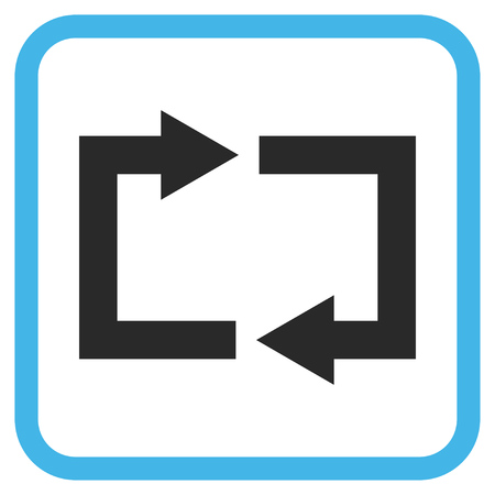 Exchange Arrows blue and gray glyph icon. Image style is a flat icon symbol inside a rounded square frame on a white background.