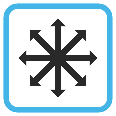 Expand Arrows blue and gray glyph icon. Image style is a flat icon symbol inside a rounded square frame on a white background. Stock Photo