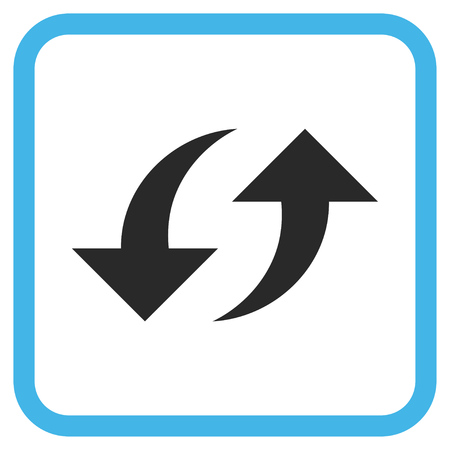 revolve: Exchange Arrows blue and gray glyph icon. Image style is a flat pictograph symbol inside a rounded square frame on a white background. Stock Photo