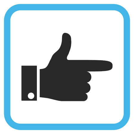 proceed: Hand Pointer Right blue and gray glyph icon. Image style is a flat iconic symbol in a rounded square frame on a white background. Stock Photo