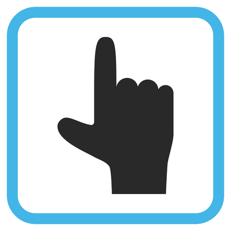 vertical orientation: Hand Pointer Up blue and gray glyph icon. Image style is a flat pictograph symbol inside a rounded square frame on a white background.