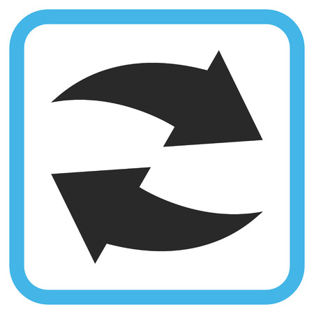 revolve: Exchange Arrows blue and gray glyph icon. Image style is a flat icon symbol inside a rounded square frame on a white background.