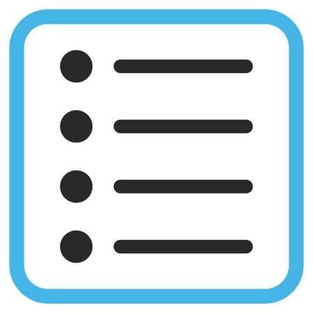 item list: Items blue and gray glyph icon. Image style is a flat icon symbol inside a rounded square frame on a white background.