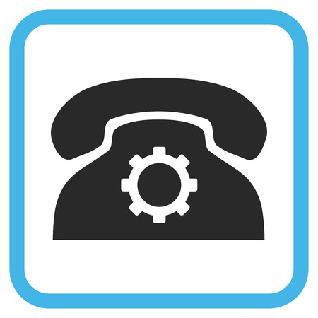 config: Phone Settings blue and gray glyph icon. Image style is a flat pictogram symbol inside a rounded square frame on a white background.