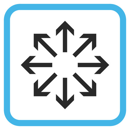 resize: Radial Arrows blue and gray glyph icon. Image style is a flat pictograph symbol inside a rounded square frame on a white background. Stock Photo