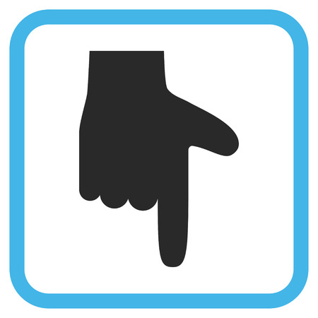 vertical orientation: Hand Pointer Down blue and gray glyph icon. Image style is a flat pictogram symbol inside a rounded square frame on a white background. Stock Photo