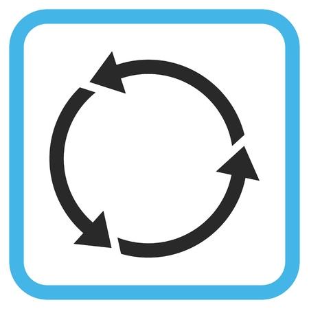 revolve: Recycle blue and gray glyph icon. Image style is a flat pictogram symbol inside a rounded square frame on a white background.