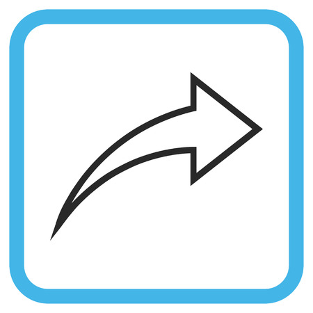redo: Redo blue and gray glyph icon. Image style is a flat pictogram symbol inside a rounded square frame on a white background. Stock Photo