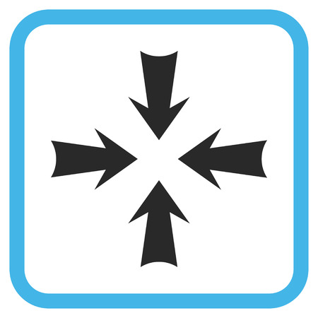 Reduce Arrows blue and gray glyph icon. Image style is a flat pictogram symbol in a rounded square frame on a white background.