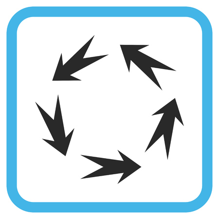 Rotation blue and gray glyph icon. Image style is a flat pictogram symbol inside a rounded square frame on a white background.