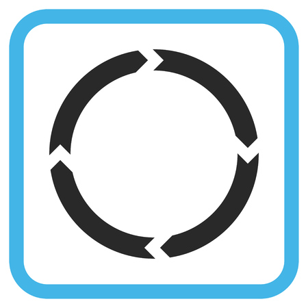 revolve: Rotation blue and gray glyph icon. Image style is a flat icon symbol inside a rounded square frame on a white background. Stock Photo