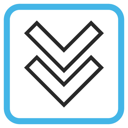 vertical orientation: Shift Down blue and gray glyph icon. Image style is a flat pictograph symbol in a rounded square frame on a white background.