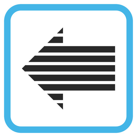 Stripe Arrow Left blue and gray glyph icon. Image style is a flat pictograph symbol in a rounded square frame on a white background.