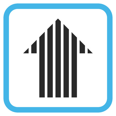 vertical orientation: Stripe Arrow Up blue and gray glyph icon. Image style is a flat pictogram symbol in a rounded square frame on a white background. Stock Photo