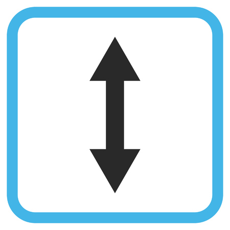 inverse: Vertical Flip blue and gray glyph icon. Image style is a flat icon symbol in a rounded square frame on a white background.
